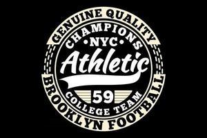 t-shirt typographie champions athlétiques football style vintage vecteur