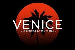 tee shirt venise plage californie coucher de soleil vintage vecteur