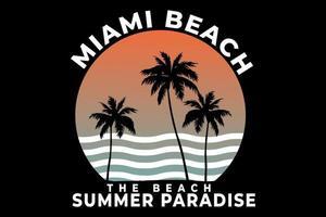 t-shirt miami beach paradis d'été style rétro vecteur