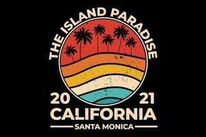 t-shirt california beach island paradise style rétro vecteur