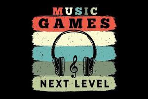 t-shirt casque musique jeux prochain niveau rétro style vintage vecteur