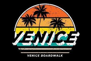 t-shirt venise boardwalk style rétro vecteur