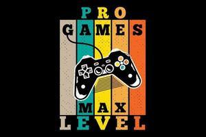 tee shirt pro jeux niveau max style retro vecteur