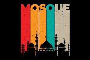 t-shirt silhouette mosquée rétro style vintage vecteur
