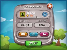 Profil de joueur avec des options pour le jeu Ui vecteur