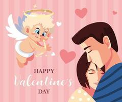 carte de voeux pour la saint valentin, couple amoureux et doux ange cupidon vecteur