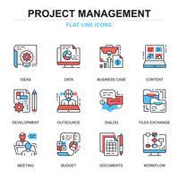 Jeu d'icônes de gestion de projet vecteur