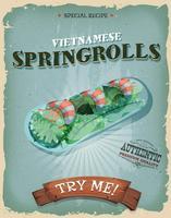 Affiche de rouleaux de printemps vietnamiens vintage grunge