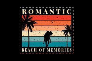 t-shirt plage de souvenirs design romantique vecteur