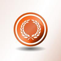 Icône Laurel Wreath au design plat vecteur