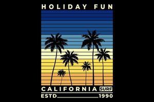 t-shirt vacances amusement californie surf beau coucher de soleil design vecteur