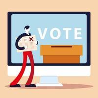 jour de l'élection, personne avec bulletin de vote urne informatique vecteur