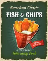 Affiche rétro de fast food poisson et frites