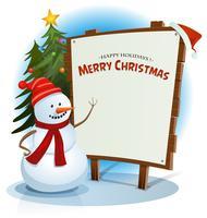 Bonhomme de neige de Noël et fond de signe en bois vecteur