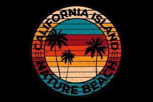 tee shirt californie island nature plage retro style vintage vecteur