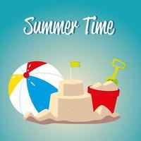 voyage de vacances d'été, seau à boules de château de sable avec pelle vecteur