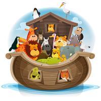 L'arche de noé avec des animaux mignons vecteur