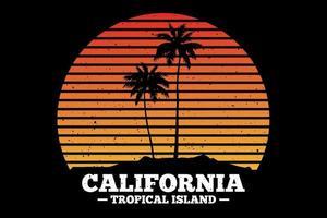 t-shirt californie île tropicale plage coucher de soleil design vecteur
