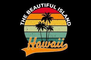 t-shirt plage belle île hawaii style rétro vecteur