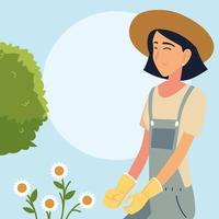 Caricature de femme de jardinier avec des fleurs et un dessin vectoriel d'arbustes