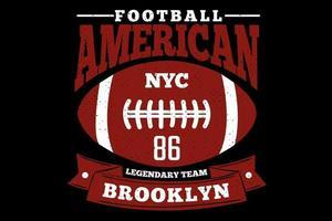 t-shirt typographie football américain brooklyn style vintage vecteur