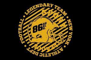 t-shirt typographie équipe légendaire football style vintage vecteur