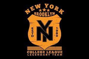 tee shirt typographie brooklyn new york college league vecteur