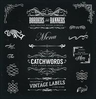 Cadres calligraphiques et bannières sur tableau noir vecteur