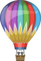 montgolfière colorée en style cartoon isolé vecteur