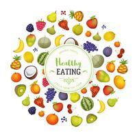 Saine alimentation avec fruits fond vecteur