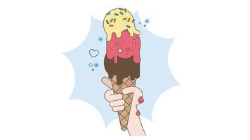 Cône de crème glacée vecteur
