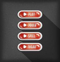 Conception de boutons de lecture en plusieurs langues pour Game Ui vecteur