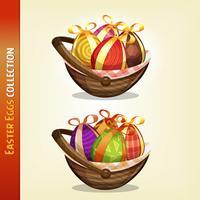 Œufs de Pâques à l'intérieur des paniers vecteur