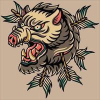 tatouage de conception de vecteur de cochon
