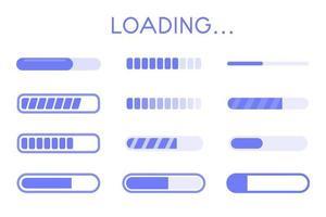 jeu d'icônes de chargement de tampon de site Web. une barre indiquant l'état de téléchargement des informations sur le site Web. vecteur