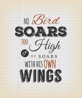 Citation inspirante Aucun oiseau ne s'envole trop haut vecteur