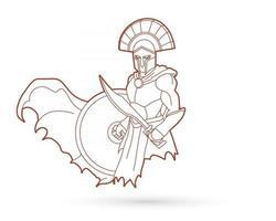contour guerrier spartiate gladiateur romain vecteur