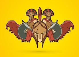 groupe d'armée romaine de guerrier spartiate vecteur
