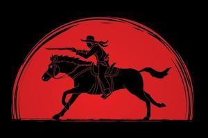 ombre cowboy équitation cheval visant pistolet vecteur