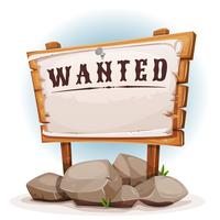 Panneau en bois avec Wanted sur papier déchiré