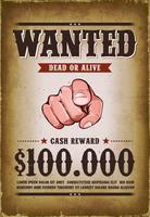 affiche de western recherchée vintage vecteur