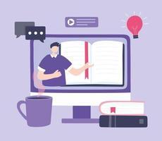 formation en ligne, homme en vidéo enseignant des livres de cours d'informatique, cours de développement des connaissances à l'aide d'Internet vecteur