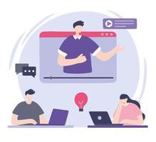 formation en ligne, homme en vidéo enseignant aux personnes avec un ordinateur portable, cours de développement des connaissances à l'aide d'Internet vecteur