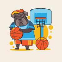 Animal bouledogue anglais tenant un ballon de basket vecteur