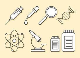 atome de microscope de seringue de loupe de science de chimie, style de ligne vecteur