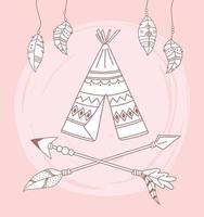 tipi indigène flèches et plumes boho et tribal vecteur