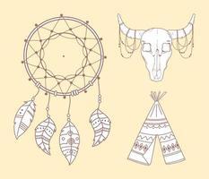 tipi taureau crâne et dreamcatcher boho et tribal vecteur