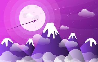 Illustration de paysage violet de vecteur