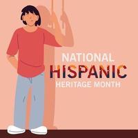mois du patrimoine hispanique national avec la conception de vecteur de dessin animé homme latin