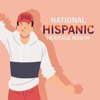 mois du patrimoine hispanique national avec dessin animé homme latin avec dessin vectoriel de chapeau